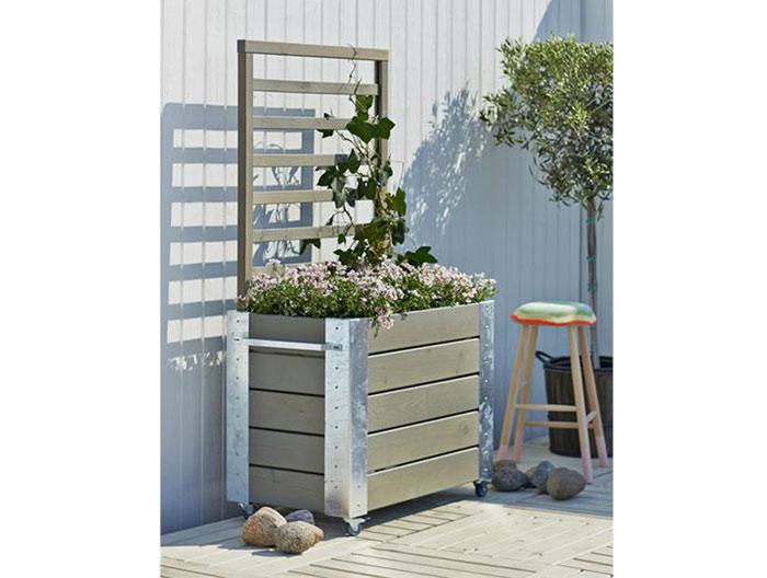 plus cubic blumenkasten mit spalier 155cm grau braun. Black Bedroom Furniture Sets. Home Design Ideas