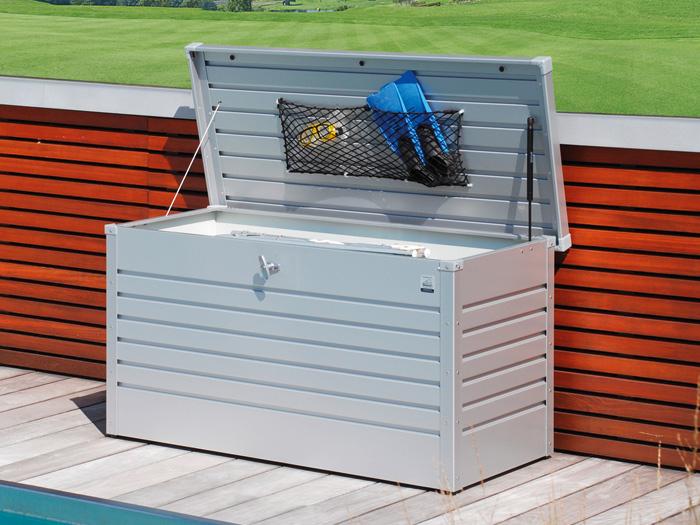 biohort freizeitbox 130 silber metallic gartenh user. Black Bedroom Furniture Sets. Home Design Ideas