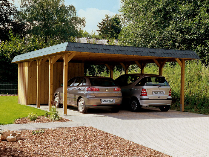 skanholz walmdach carport spreewald doppel carport ca b. Black Bedroom Furniture Sets. Home Design Ideas