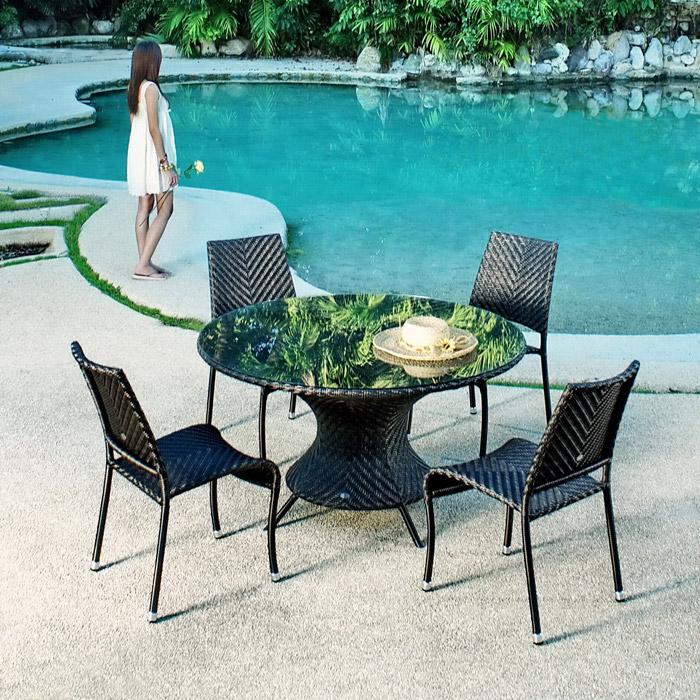 alexander rose wave tisch rund gartenm bel. Black Bedroom Furniture Sets. Home Design Ideas