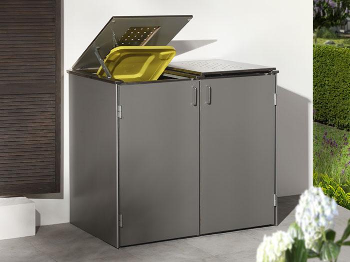 binto 2er m lltonnenbox hpl lichtgrau mit klappdeckeln m lltonnenboxen. Black Bedroom Furniture Sets. Home Design Ideas