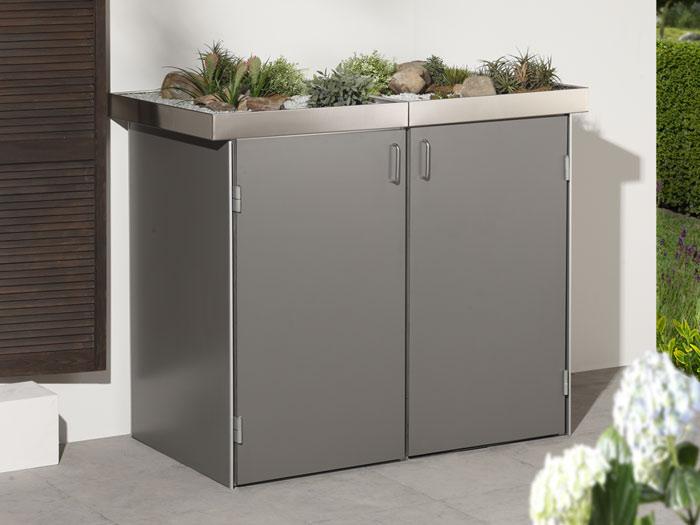 binto m lltonnenbox hpl lichtgrau mit pflanzschale m lltonnenboxen. Black Bedroom Furniture Sets. Home Design Ideas