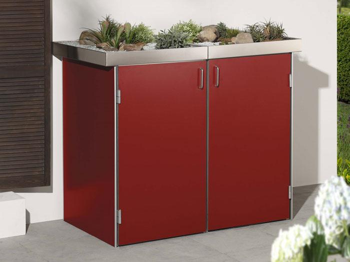 binto 3er m lltonnenbox hpl rot mit pflanzschalen. Black Bedroom Furniture Sets. Home Design Ideas