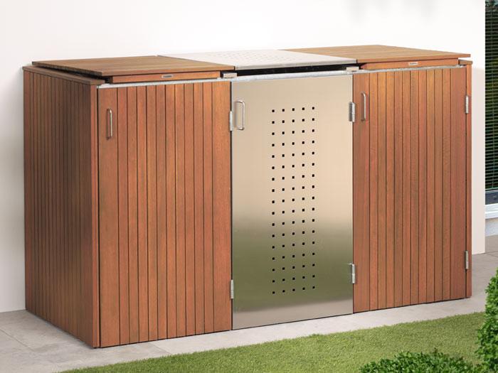 binto 3er m lltonnenbox hartholz mit klappdeckeln. Black Bedroom Furniture Sets. Home Design Ideas