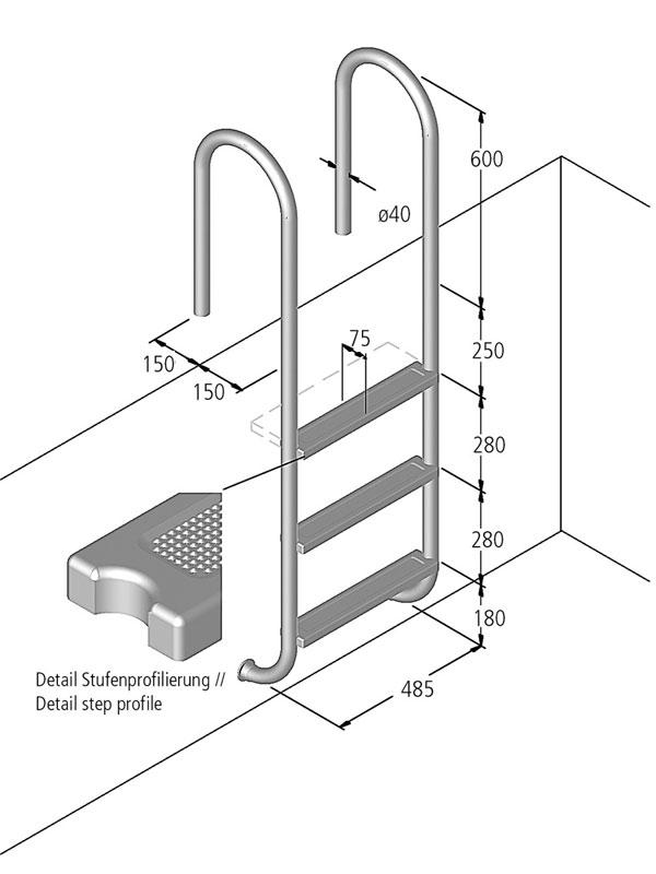 ideal leiter tina modell 01 pool zubeh r. Black Bedroom Furniture Sets. Home Design Ideas