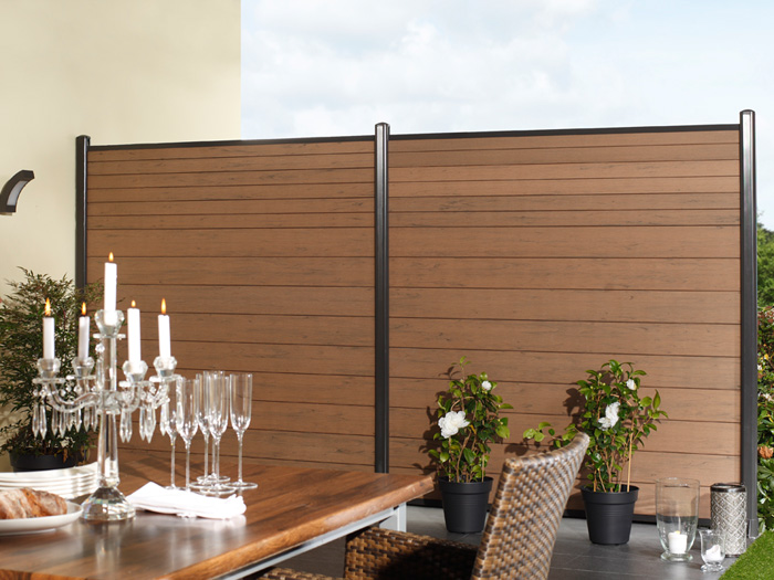 zaunanlage system wpc 2 zaun. Black Bedroom Furniture Sets. Home Design Ideas