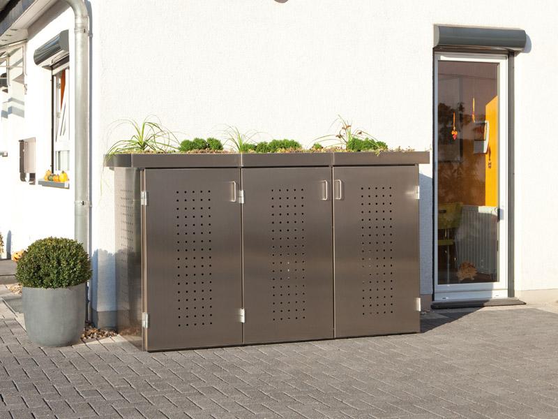 binto m lltonnenbox edelstahl mit pflanzschale m lltonnenboxen. Black Bedroom Furniture Sets. Home Design Ideas
