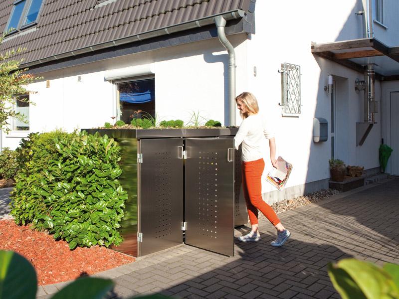 binto 4er m lltonnenbox edelstahl mit pflanzschalen m lltonnenboxen. Black Bedroom Furniture Sets. Home Design Ideas