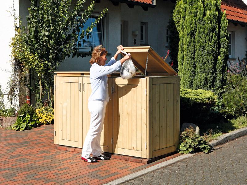 muelltonnenbox 3er friesenbank shop m lltonnenbox holz fsc zeder f r 3 x m lltonnenbox grau. Black Bedroom Furniture Sets. Home Design Ideas