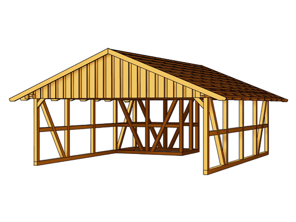 skanholz fachwerk carport schwarzwald mit dachlattung doppel carport mit abstellraum 1 ca b 684. Black Bedroom Furniture Sets. Home Design Ideas