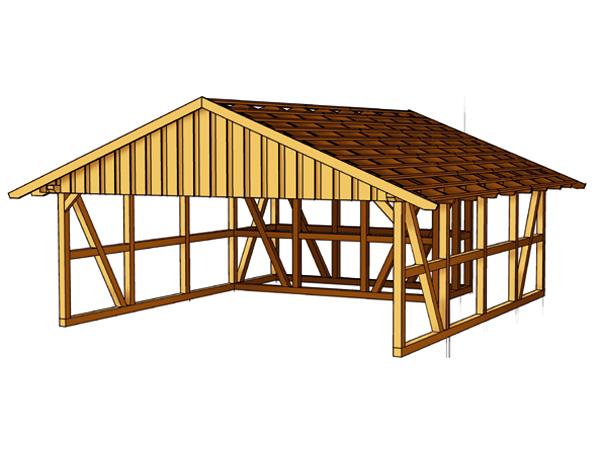 skanholz fachwerk carport schwarzwald mit dachlattung doppel carport mit abstellraum 2 ca b 684. Black Bedroom Furniture Sets. Home Design Ideas