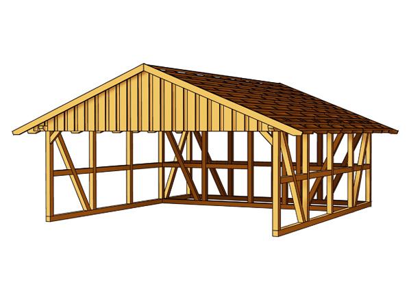 skanholz fachwerk carport schwarzwald mit dachlattung doppel carport mit abstellraum 3 ca b 684. Black Bedroom Furniture Sets. Home Design Ideas