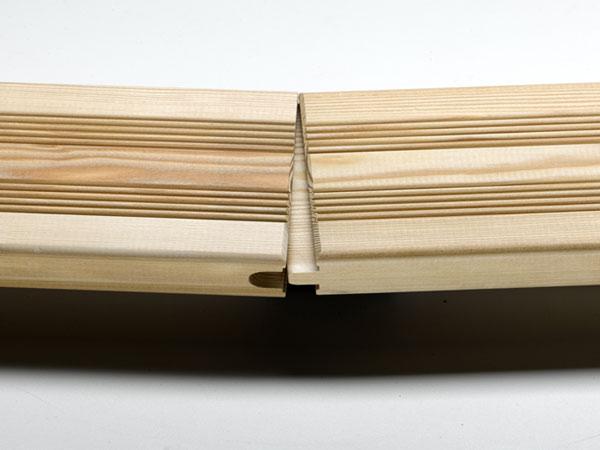 terrassendiele l rche 27x143mm beidseitig franz sisches profil mit kopfspundung holz. Black Bedroom Furniture Sets. Home Design Ideas