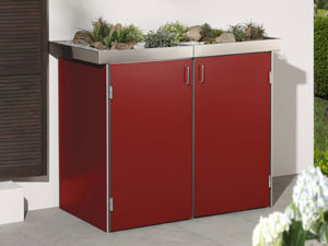 binto 4er m lltonnenbox hpl rot mit pflanzschalen m lltonnenboxen. Black Bedroom Furniture Sets. Home Design Ideas