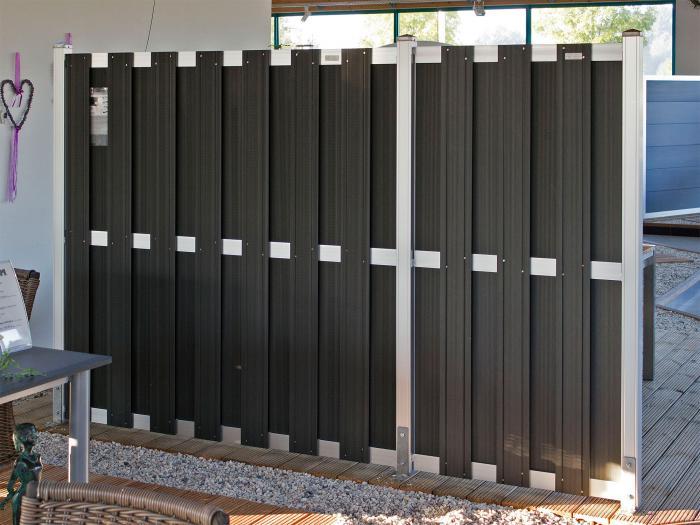 Gut Elephant Design Sichtschutz WPC, anthrazit 180x180cm | Zaun | MESEM.de HD99