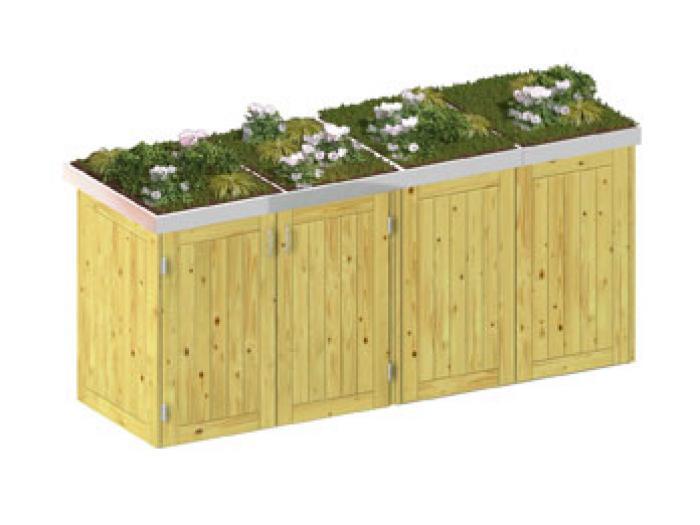 binto 4er m lltonnenbox nadelholz mit pflanzschalen von traumgarten ebay. Black Bedroom Furniture Sets. Home Design Ideas