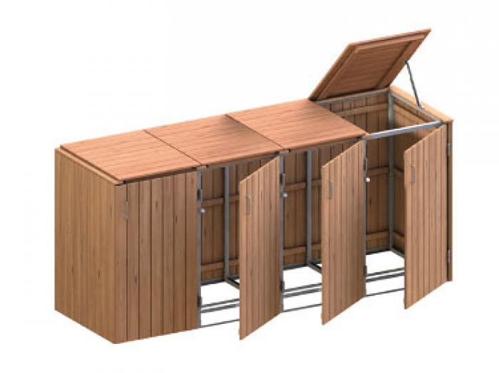 binto 4er m lltonnenbox hartholz mit klappdeckeln ebay. Black Bedroom Furniture Sets. Home Design Ideas