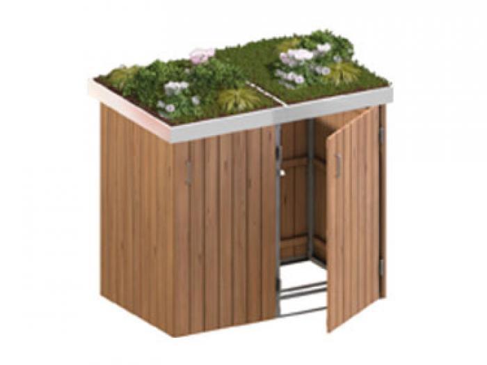 binto 2er m lltonnenbox hartholz mit pflanzschalen m lltonnenboxen. Black Bedroom Furniture Sets. Home Design Ideas