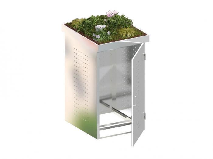 binto m lltonnenbox edelstahl mit pflanzschale ebay. Black Bedroom Furniture Sets. Home Design Ideas