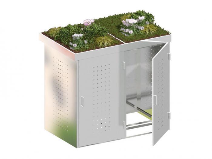 binto 2er m lltonnenbox edelstahl mit pflanzschalen m lltonnenboxen. Black Bedroom Furniture Sets. Home Design Ideas