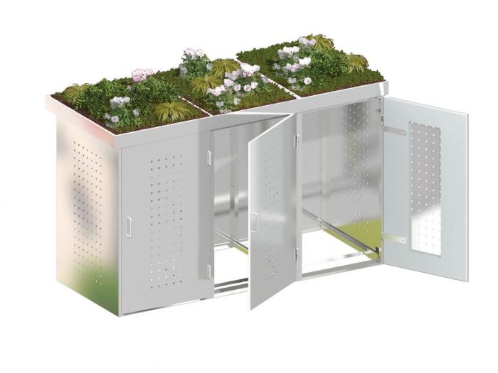 binto 3er m lltonnenbox edelstahl mit pflanzschalen ebay. Black Bedroom Furniture Sets. Home Design Ideas
