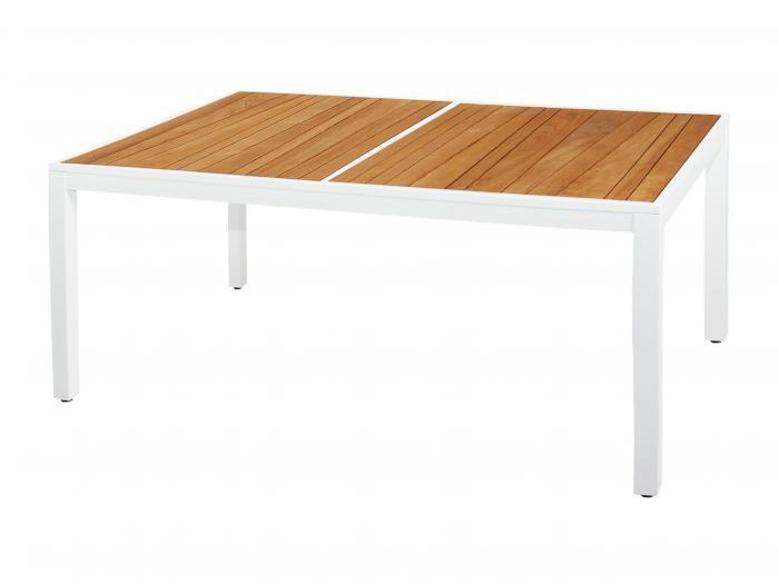 mamagreen allux tisch 160 x 100cm alu weiss teak. Black Bedroom Furniture Sets. Home Design Ideas