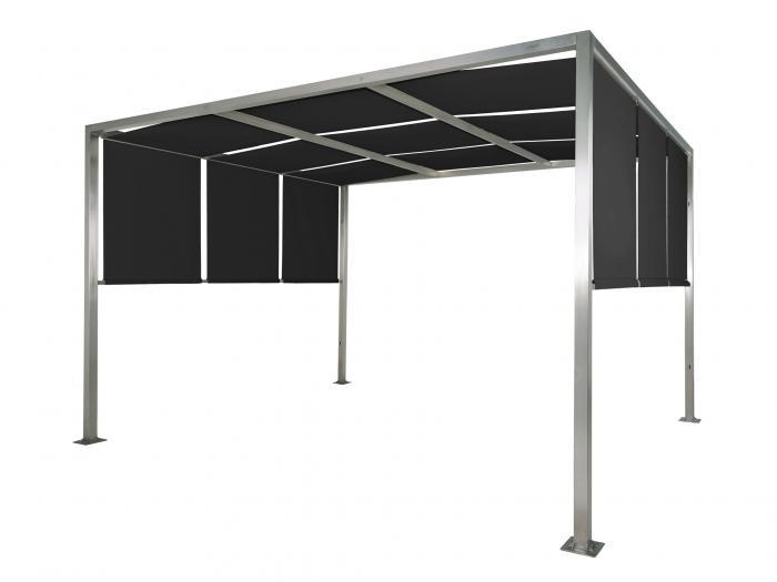 flachdach pergola firenze 3 3 meter grau terrassen dach carport gazebo mwd. Black Bedroom Furniture Sets. Home Design Ideas
