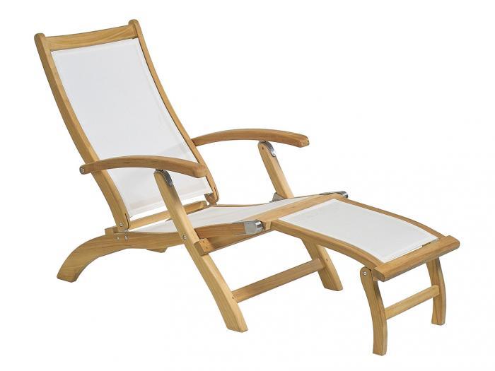plo deckchair fremont teak textilen mit fu teil ebay. Black Bedroom Furniture Sets. Home Design Ideas