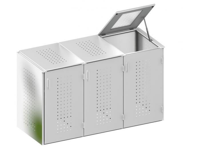 binto 3er m lltonnenbox edelstahl mit klappdeckeln von traumgarten ebay. Black Bedroom Furniture Sets. Home Design Ideas