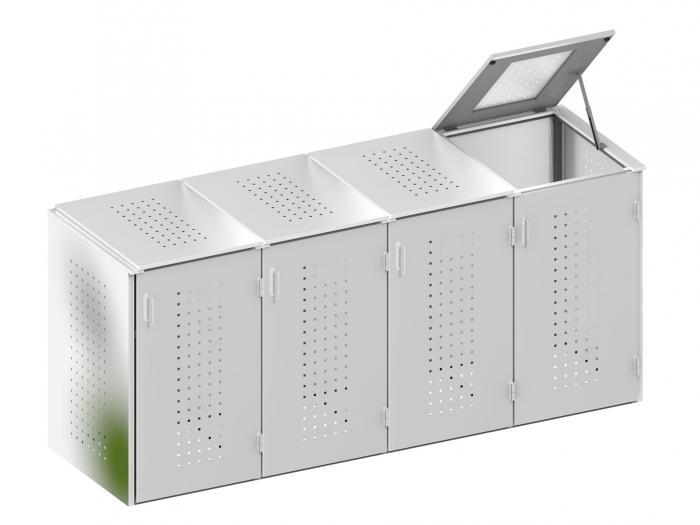 binto 4er m lltonnenbox edelstahl mit klappdeckeln von traumgarten ebay. Black Bedroom Furniture Sets. Home Design Ideas