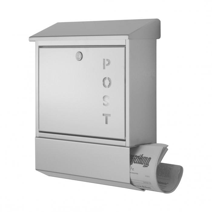 heibi briefkasten 43835 edelstahl postkasten inkl zeitungsfach beidseitig offen ebay. Black Bedroom Furniture Sets. Home Design Ideas