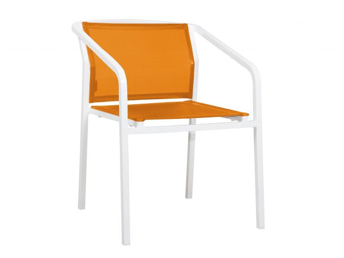 mamagreen allux bistro stuhl alu weiss orange gartenm bel. Black Bedroom Furniture Sets. Home Design Ideas
