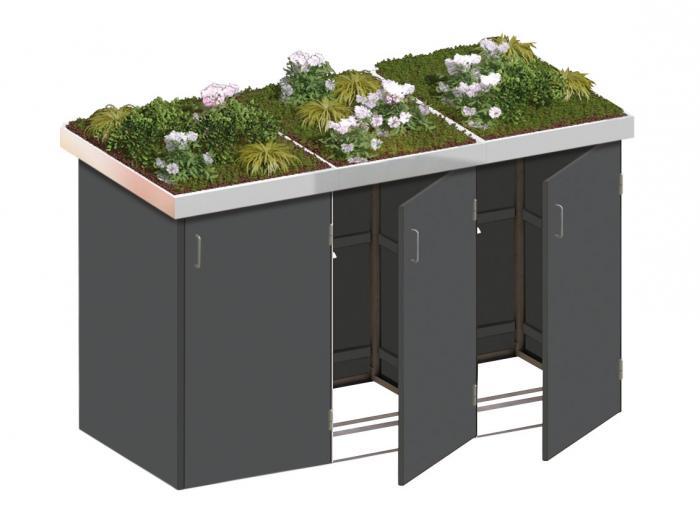 binto 3er m lltonnenbox hpl schiefer mit pflanzschalen m lltonnenverkleidung ebay. Black Bedroom Furniture Sets. Home Design Ideas