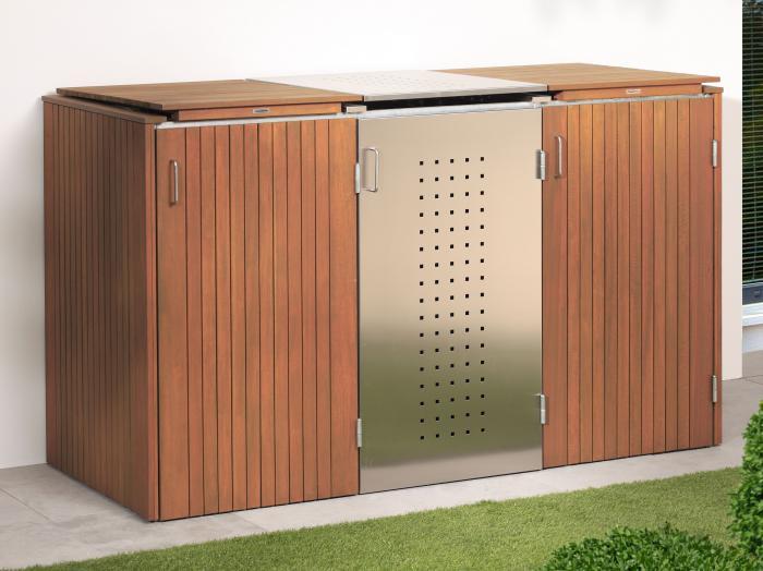 binto 3er m lltonnenbox hartholz edelstahl mit. Black Bedroom Furniture Sets. Home Design Ideas