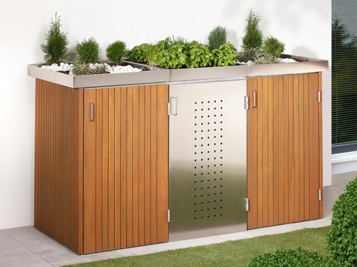 binto 3er m lltonnenbox hartholz edelstahl mit pflanzschalen von traumgarten ebay. Black Bedroom Furniture Sets. Home Design Ideas