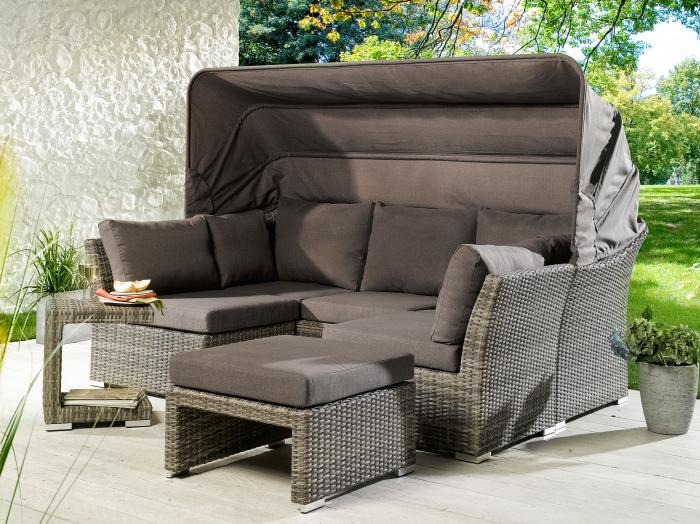 artlife polyrattan gartenm bel sonnenliege lounge ibiza l mit dach f r 1 person mwd. Black Bedroom Furniture Sets. Home Design Ideas