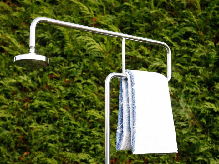 Ideal gartendusche trombone gartenduschen for Gartendusche bodenplatte