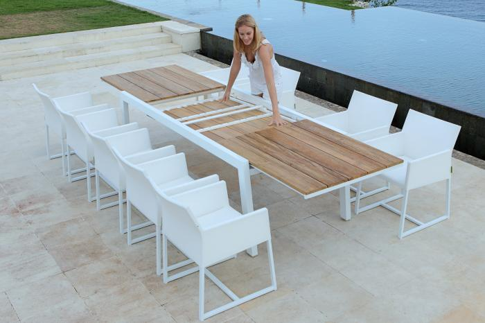 mamagreen baia mono sitzgruppe alu weiss teak gartenm bel. Black Bedroom Furniture Sets. Home Design Ideas