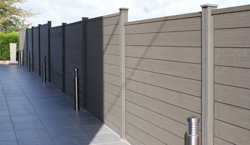 grojasombra wpc zaun im farbton stone grey. Black Bedroom Furniture Sets. Home Design Ideas