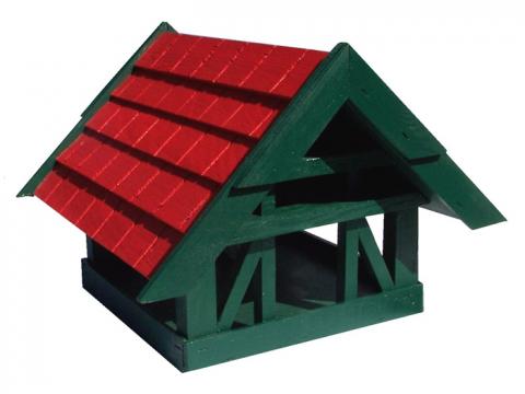 Mesem Vogelhaus Fachwerkhaus rot/grün mit 2 Futterplätzen 4028832002562