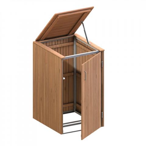 Traumgarten Binto Mülltonnenbox Hartholz mit Klappdeckel 4033821032444