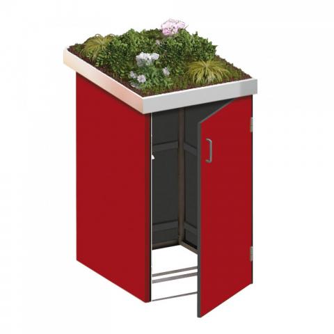 Traumgarten Binto Mülltonnenbox HPL rot mit Pflanzschale 4033821042719