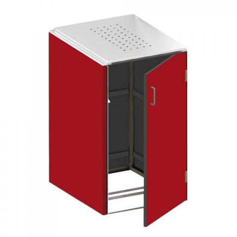 Traumgarten Binto Mülltonnenbox HPL rot mit Edelstahl Klappdeckel 4033821042757