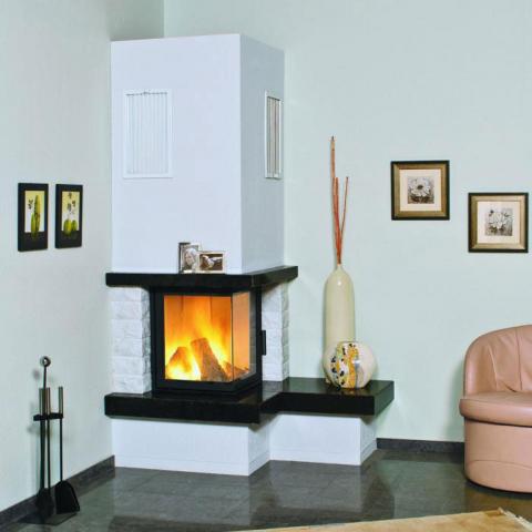 Hark Eck-Kaminbausatz 8kW Nebraska rechts Granit naturschwarz - externe Verbrennungsluftzufuhr 4040396018865