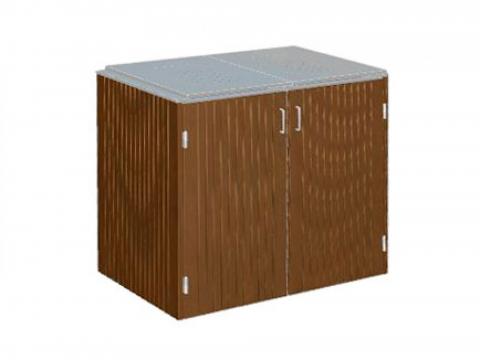 Traumgarten Binto 2er Mülltonnenbox Hartholz mit Klappdeckel Edelstahl