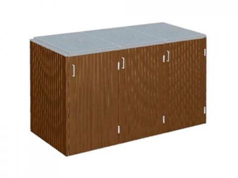 Traumgarten Binto 3er Mülltonnenbox Hartholz mit Klappdeckel Edelstahl