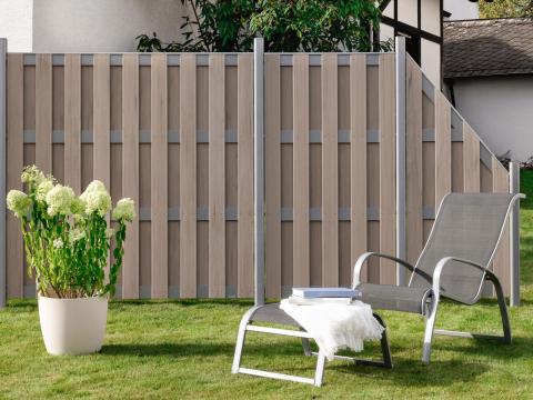 Traumgarten Jumbo WPC Alu Design sand Zaunanlage