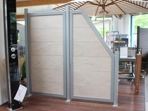 Traumgarten Design WPC Alu sand Zaunanlage-1