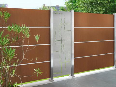 Traumgarten System Board XL rost, Design Puls Zaunanlage