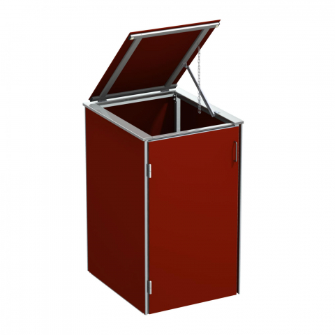 Traumgarten Binto Mülltonnenbox HPL rot mit Klappdeckel 4033821046830